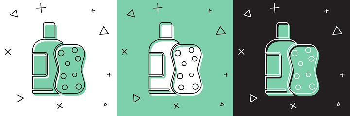 Set Bottle of shampoo and sponge icon isolated on white and green, black background. Vector Illustration
