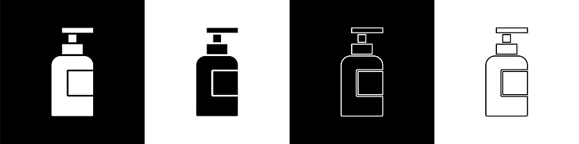 Set Bottle of shampoo icon isolated on black and white background. Vector