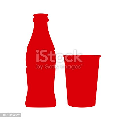 istock Set bottle of soda water with can – stock vector 1076124852