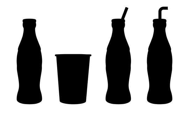 stockillustraties, clipart, cartoons en iconen met fles soda water met kan instellen-vector - cola
