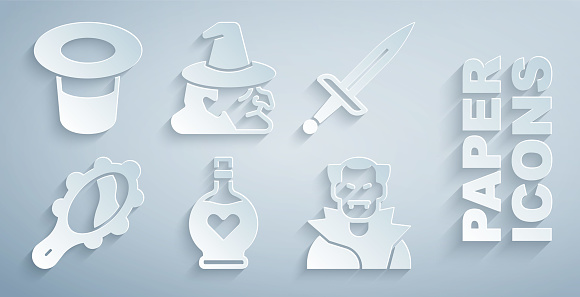 Set Bottle with love potion, Dagger, Magic hand mirror, Vampire, Witch and hat icon. Vector