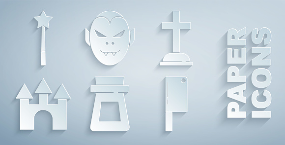 Set Bottle with potion, Tombstone cross, Castle, Meat chopper, Vampire and Magic wand icon. Vector
