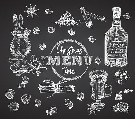 Set bottles Bourbon, glasses, eggnog christmas spice on black chalk board background Vintage hand drawn sketch design bar, restaurant, cafe menu, flyer, banner, poster engraving style Graphic art
