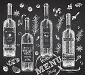 istock Set bottles red or white wine and christmas spices on black chalk board background Vintage hand drawn sketch design bar, restaurant, cafe menu, flyer, banner, poster engraving style Graphic art 1268706947