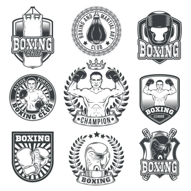 Set boxing badges, stickers isolated on white. – Vektorgrafik