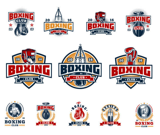 Set boxing badges, stickers isolated on white. vector art illustration