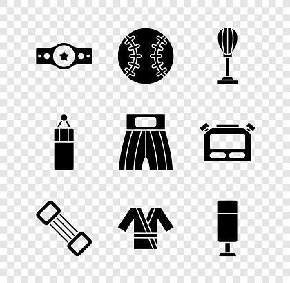 Set Boxing belt, Baseball ball, Punching bag, Chest expander, Japanese costume Kimono, and short icon. Vector