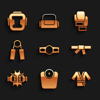 Set Boxing belt, Bathroom scales, Japanese costume Kimono, Black karate, Punch boxing gloves, Sport expander, and helmet icon. Vector