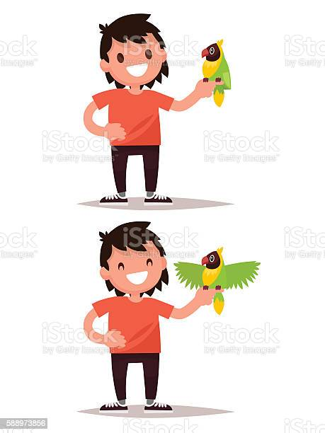 Set boy and parrot vector illustration vector id588973856?b=1&k=6&m=588973856&s=612x612&h=q5kculyn2zom ubfruvqgawpbkl3jyzffgmikivkkpo=