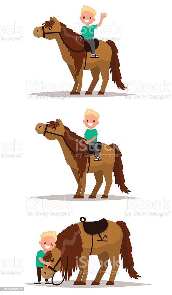 Set boy with a horse. Boy riding on horseback. vector art illustration