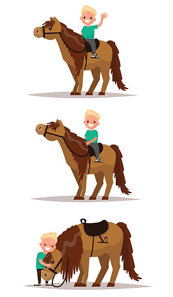 set boy with a horse. boy riding on horseback. - pony stock illustrations