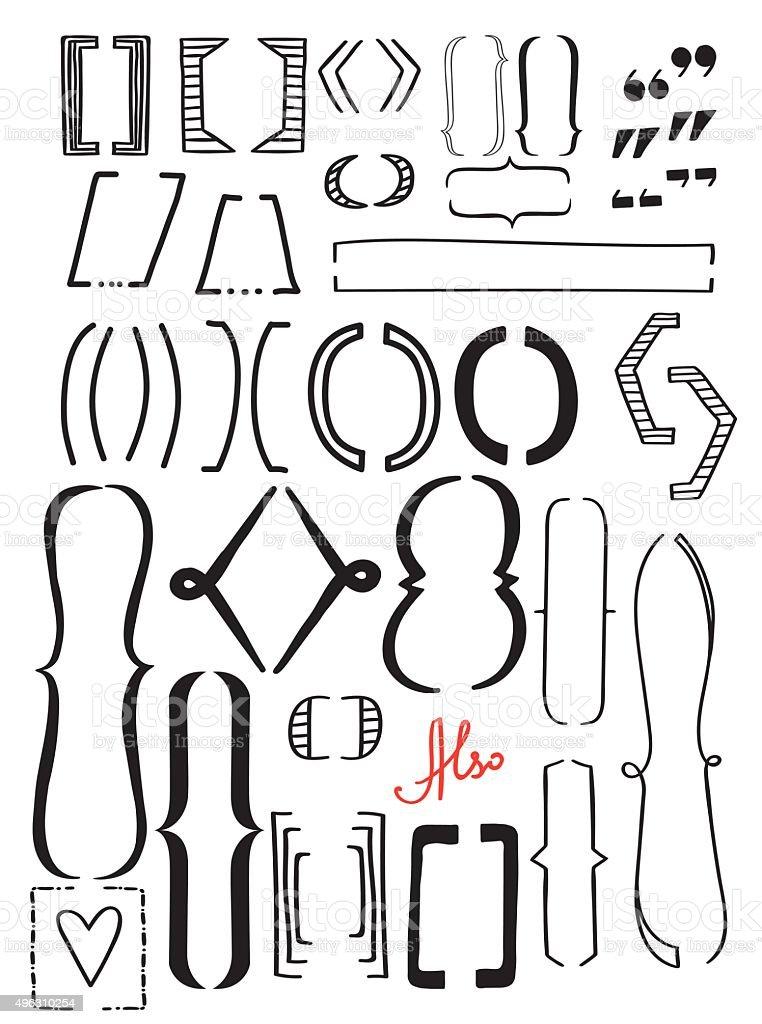 Set brackets vector art illustration