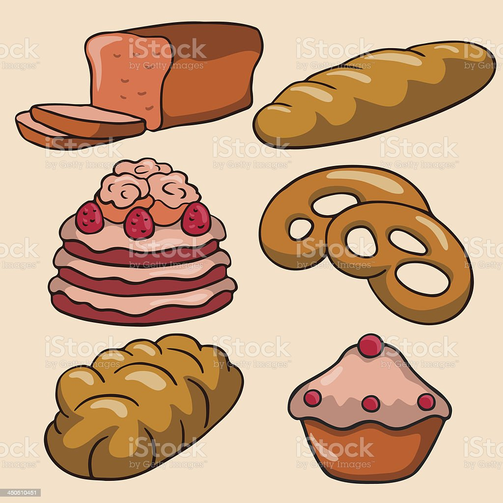 Set bread, cake, bun, cookie, long loaf royalty-free stock vector art