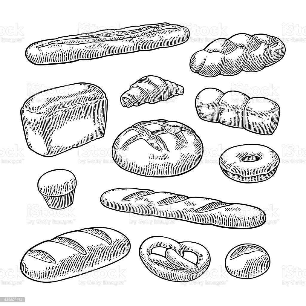 Set bread. Vector black vintage engraving向量藝術插圖