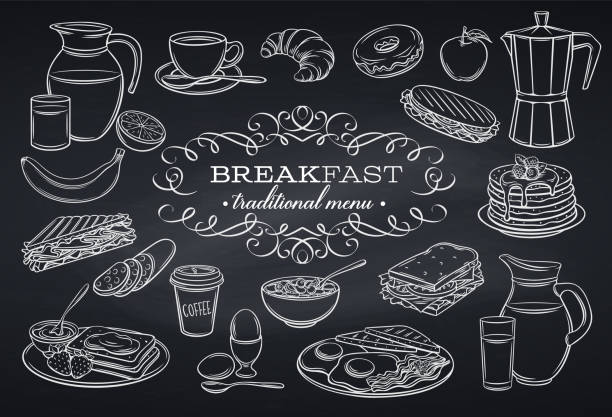 set breakfast icons on chalkboard Hand drawn set breakfast icons on chalkboard. Jug of milk, coffee pot, cup, juice, sandwich and fried eggs. Pancakes, toast with jam, croissant, cheese and flakes with milk. Vector illustration. bread drawings stock illustrations