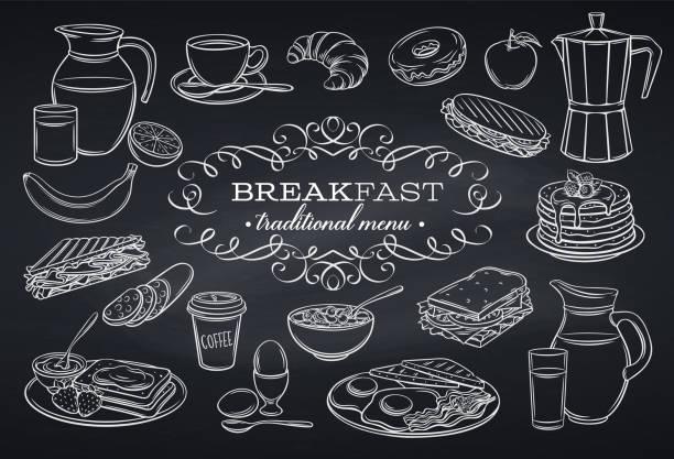 ilustraciones, imágenes clip art, dibujos animados e iconos de stock de iconos de desayuno en pizarra - desayuno
