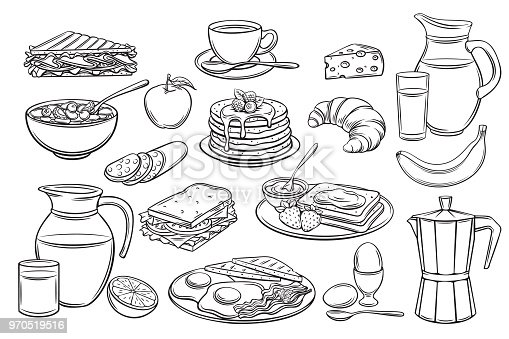 Vector hand drawn set breakfast icons. Jug of milk, coffee pot, cup, juice, sandwich and fried eggs. Pancakes, toast with jam, croissant, cheese and flakes with milk for design market product.