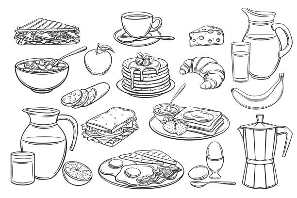 stockillustraties, clipart, cartoons en iconen met set ontbijt pictogrammen - lunch