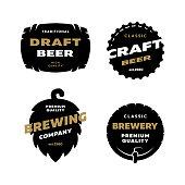 Set craft beer logo, emblem. Vector illustration
