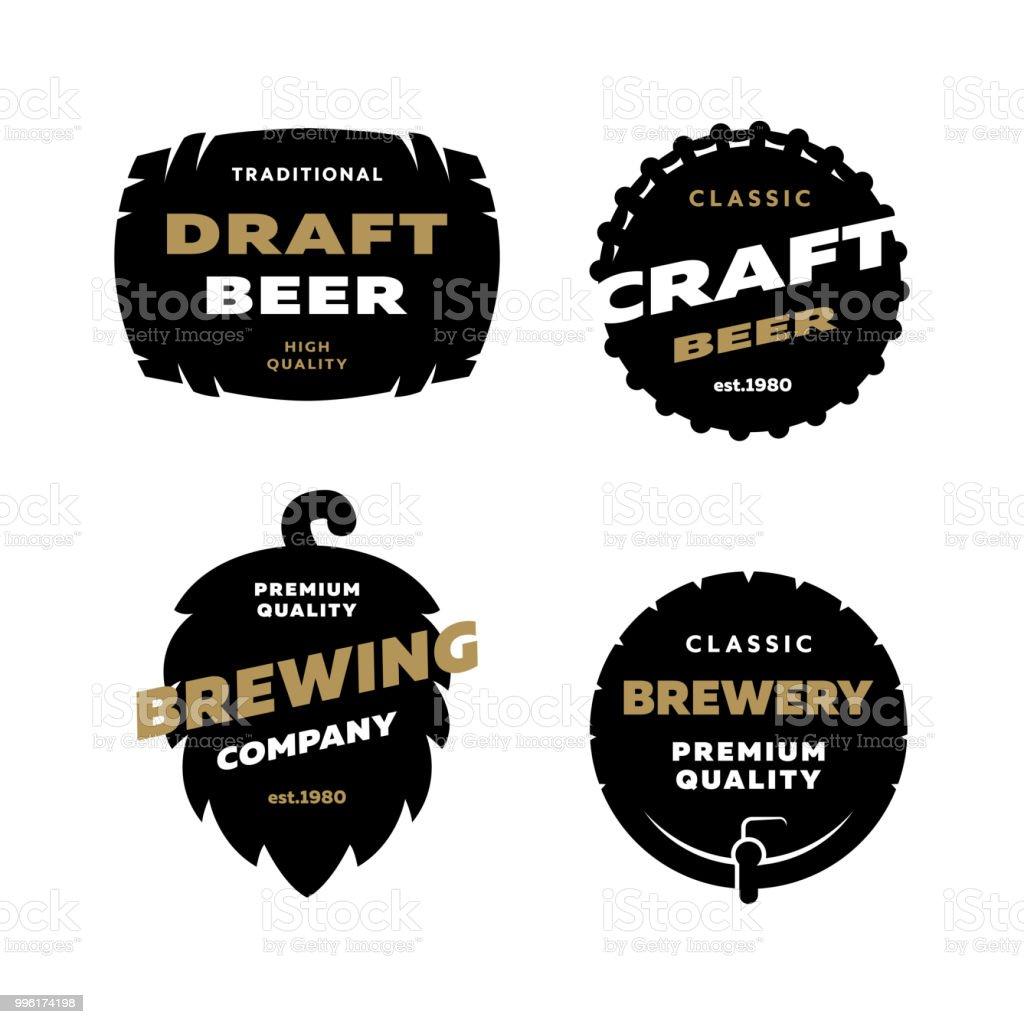 Set brewing logo, emblem. vector art illustration