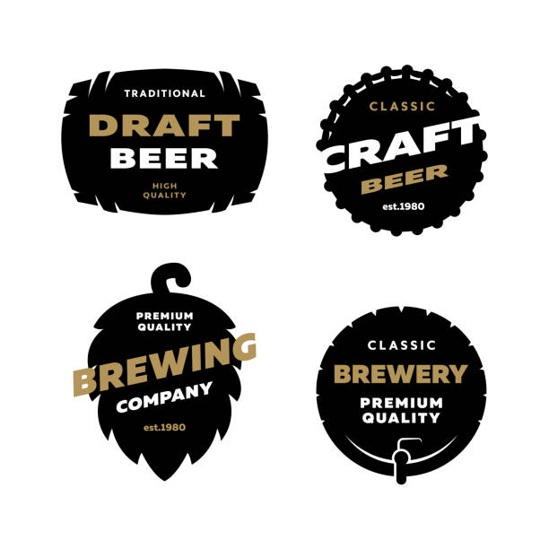 Set brewing logo, emblem. vector art illustration