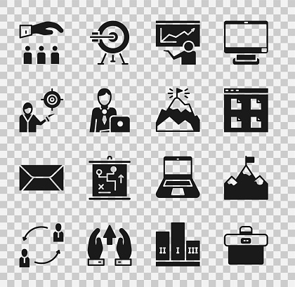 Set Briefcase, Mountains with flag, Browser files, Training, presentation, Businessman, Marketing target strategy, Boss employee and icon. Vector