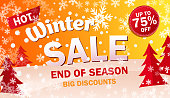 bright horizontal Sale banner on yellow background with snowflakes. Text - Winter hot sale and if season. Up to 75 off. Final offer. Snow vector illustration.