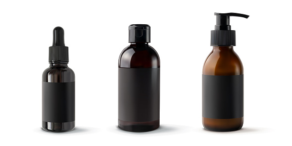 Set brown bottles for cosmetic products 3d realistic vector illustration, isolated. Plastic and glass mockup containers with black empty label sticker