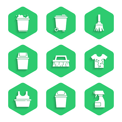 Set Brush for cleaning, Trash can, Cleaning spray bottle, Dirty t-shirt, Basin with, Feather broom and Bucket foam icon. Vector