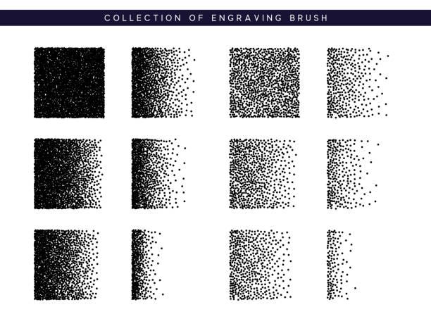 stipple pinselmuster für design gesetzt. schwarze punkte textur - getreide stock-grafiken, -clipart, -cartoons und -symbole