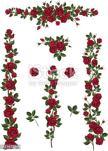 Branches climbing red rose flower with leaves and buds. Elements can be used as a Art Brush (scale proportionately) to create of any curled form. To decorate the balcony facades, fence, wall, card.