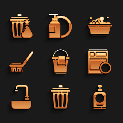 Set Bucket with rag, Trash can, Hand sanitizer bottle, Kitchen dishwasher machine, Washbasin water tap, Brush for cleaning, Plastic soap suds and garbage bag icon. Vector