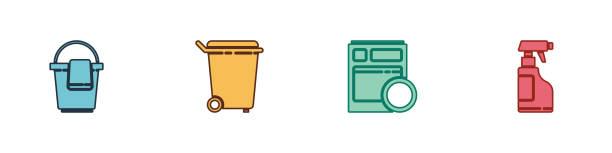 Set Bucket with rag, Trash can, Kitchen dishwasher machine and Spray bottle detergent liquid icon. Vector Set Bucket with rag, Trash can, Kitchen dishwasher machine and Spray bottle detergent liquid icon. Vector. dishwashing machine stock illustrations