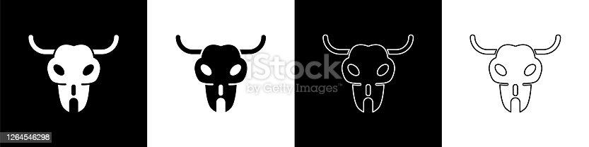 Set Buffalo skull icon isolated on black and white background. Vector Illustration
