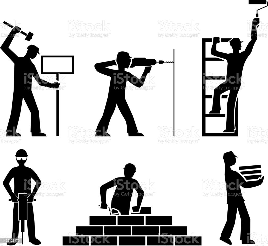 set builders outline vector royalty-free set builders outline vector stock vector art & more images of activity