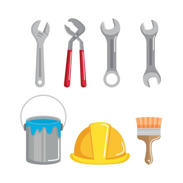 set building construction and home repair tools vector art illustration