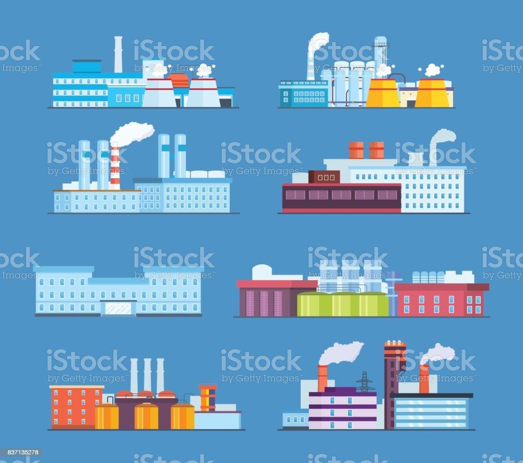Set buildings: industrial, chemical, helium plants, oil, administrative building, hospital vector art illustration