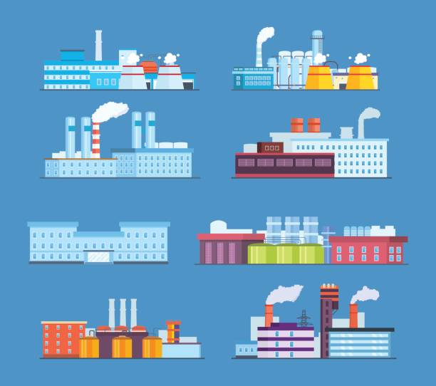 set buildings: industrial, chemical, helium plants, oil, administrative building, hospital - plant stock illustrations, clip art, cartoons, & icons