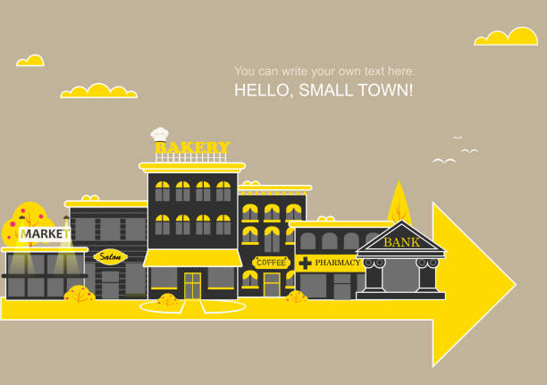set buildings of small business flat design - small business stock illustrations