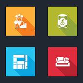 Set Bullfight, matador, Olives in can, House Edificio Mirador and Stadium Mestalla icon. Vector