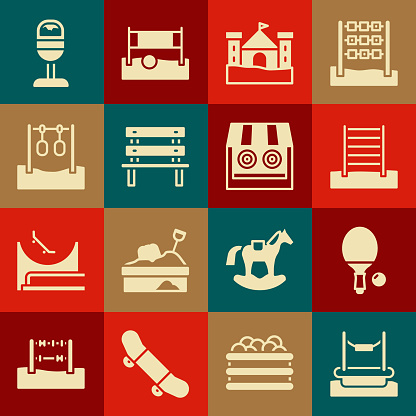 Set Bungee, Racket and ball, Swedish wall, Sand castle, Bench, Gymnastic rings, Trash can and Shooting gallery icon. Vector