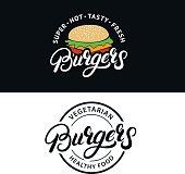 Set Burgers hand written lettering badges, labels, emblems. Vintage retro style. Vector illustration.