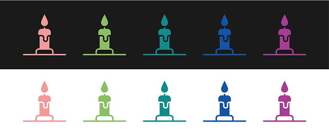 Set Burning candle in candlestick icon isolated on black and white background. Cylindrical candle stick with burning flame. Vector