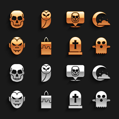 Set Burning candle, Moon stars, Ghost, Tombstone with cross, Vampire, Skull, and Owl icon. Vector