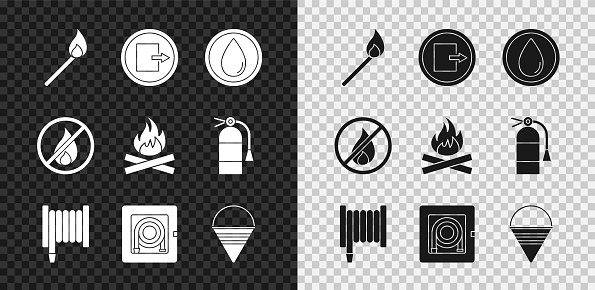 Set Burning match with fire, Fire exit, Water drop, hose reel, cabinet, cone bucket, No and Campfire icon. Vector