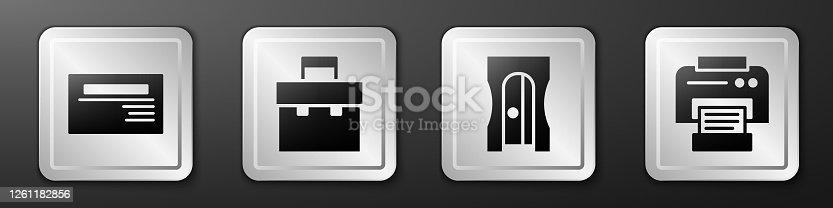 istock Set Business card, Briefcase, Pencil sharpener and Printer icon. Silver square button. Vector 1261182856