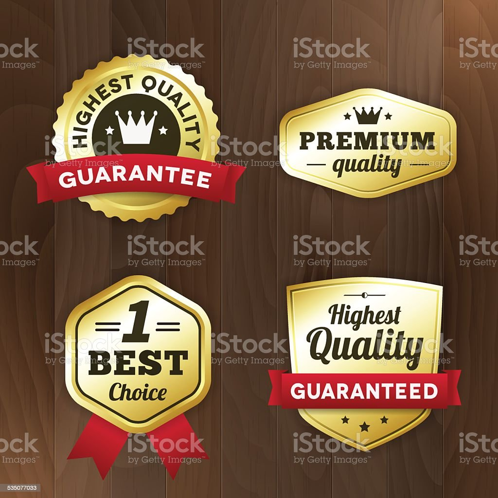 set business gold premium label on wood vector background vector art illustration