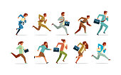 set business people running competition concept male female office workers collection flat horizontal vector illustration