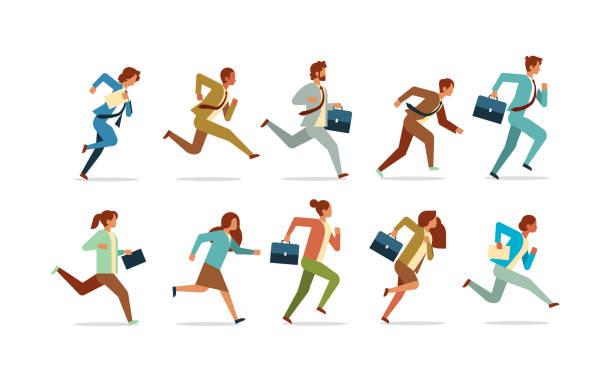 ilustrações de stock, clip art, desenhos animados e ícones de set business people running competition concept male female office workers collection flat horizontal - running