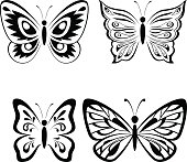 Set Butterflies Black Pictograms